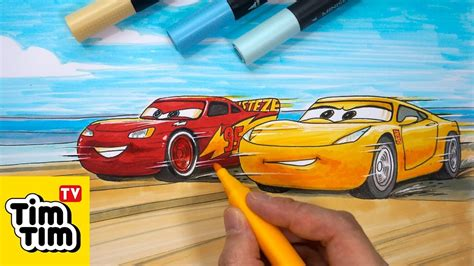 How To Draw Cars 3 Lightning Mcqueen And Cruz Race At The