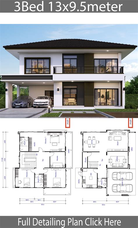 House design plan 13x9 5m with 3 bedrooms House Plans 3D