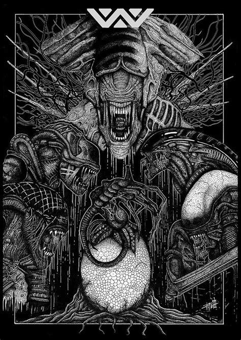 xenomorph family portrait tribute print