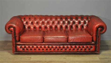Chesterfield Settees Second by Large Vintage Leather Button Back Chesterfield 3 Seat