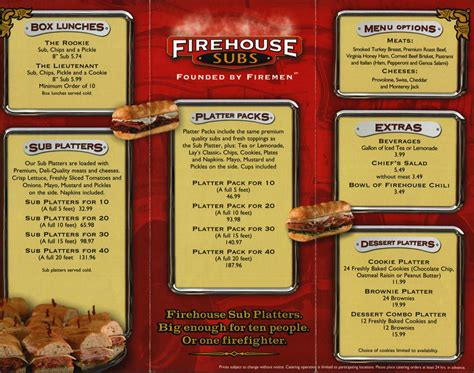 Firehouse Subs Menu and Prices
