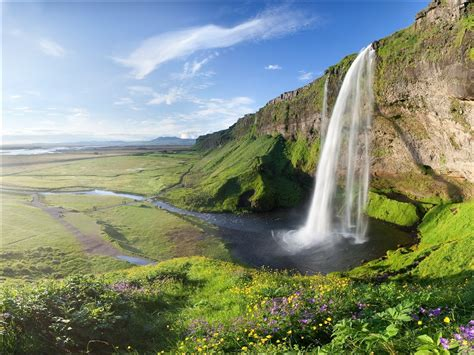 Summer Valley Cliff Waterfall Wallpapers
