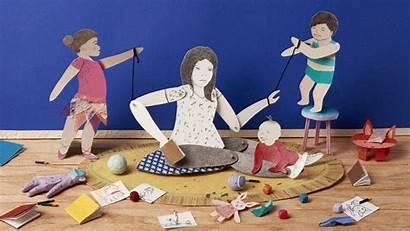 Motherhood Regretting Messy Paper Illustration Parent Parenting