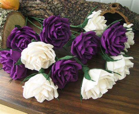 Paper Flower Ivory Purple Roses Bridal Bouquet Crepe