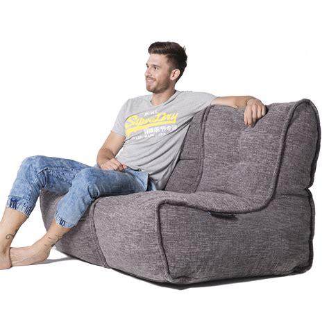 Bean Bag Loveseat 2 seater gery sofa designer bean bag grey fabric
