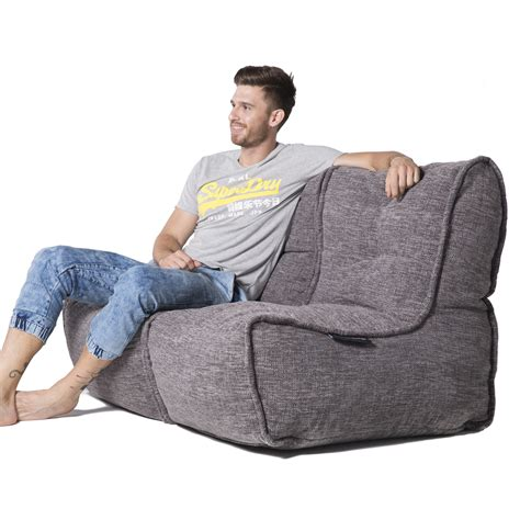 seater gery sofa designer bean bag couch grey fabric