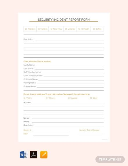 security incident report template  word