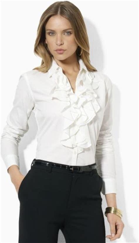 ruffled white blouse by ralph mandelle ruffled blouse in white