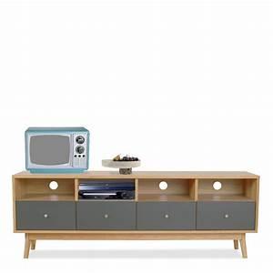 Console Scandinave Pas Cher : meuble tv 4 tiroirs skoll look scandinave by drawer fr ~ Teatrodelosmanantiales.com Idées de Décoration