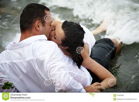 Romantic Wet Kiss Couple Kissing Stock Photo Image Of
