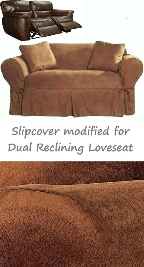 Dual Reclining Loveseat Slipcover by Dual Reclining Loveseat Slipcover Heavy Suede Saddle Brown