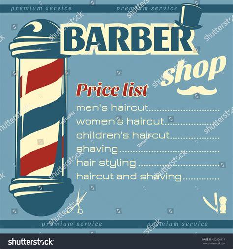 big salon beauty barber site template barbershop price list template big pole stock vector