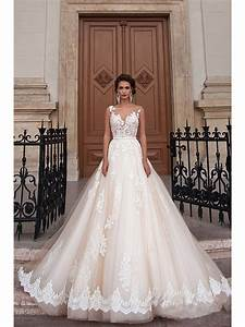 a line see through back lace wedding dresses bridal gowns With a line wedding gowns