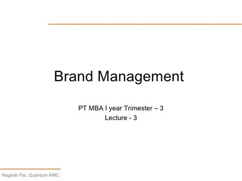 Lecture 3 Brand Management