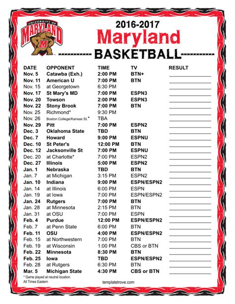 printable   maryland terrapins basketball schedule