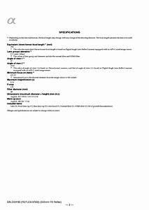 Sony Sal500f80 500mm F8 Reflex Service Manual Repair Guide