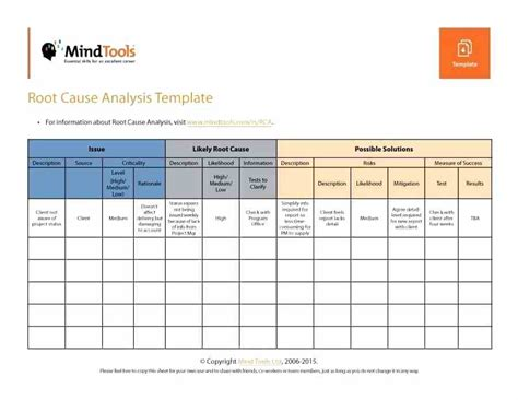 Itil Root Cause Analysis Template by Root Cause Analysis Template Deepwaters Info