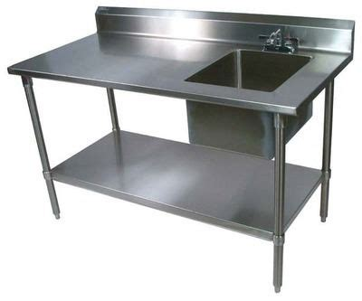kitchen sink table boos ept6r53060gskr work table prep sink 60inw x 2931