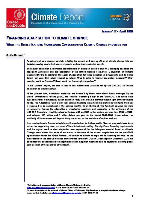 convention cadre des nations unies sur le changement climatique financer l adaptation aux changements climatiques ce que pr 233 voit la convention cadre des