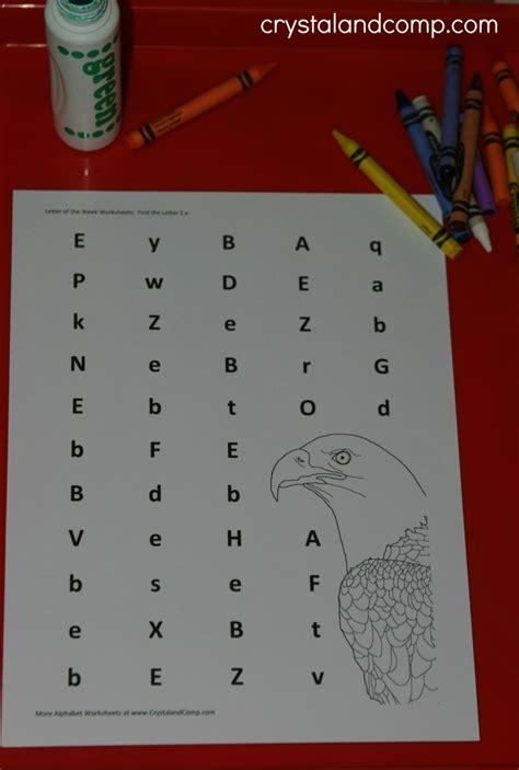 preschool letter worksheets    eagle