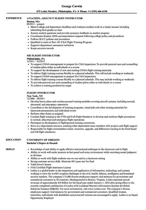 flight instructor resume cover letter adjunct instructor resume sle adjunct instructor