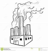 Factory Pollution Sketch Industrial Polluting Usine Coloring Doodle Bosquejo Factories Croquis Drawings Inquinamento Template Drawing Cartoon Smokestack Fabrica Tekening Fabryki sketch template
