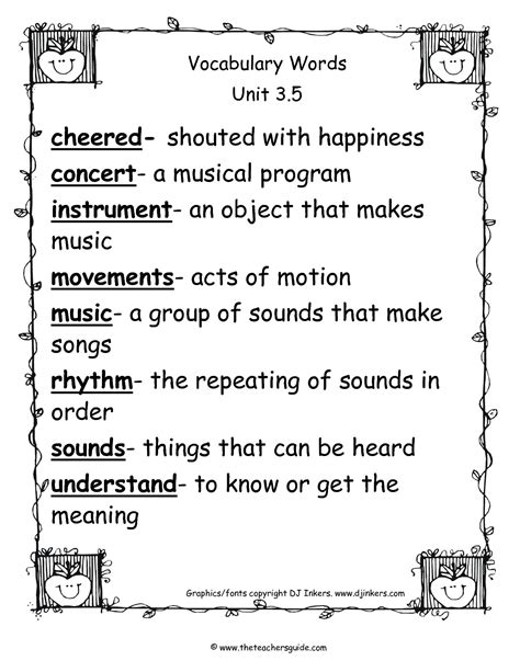 vocabulary exercises for second graders 4th grade