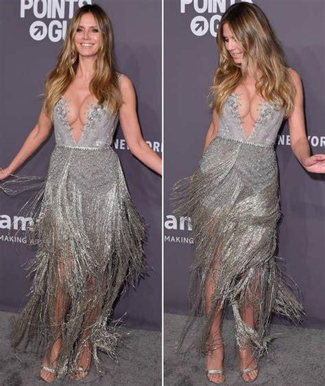 Heidi Klum Pictures Super Dazzles Plunging Silver