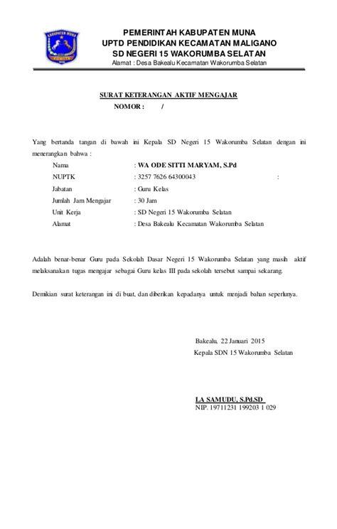 Surat Keterangan Akreditas by Surat Keterangan Aktif Mengajar Sd 15 Wakorsel