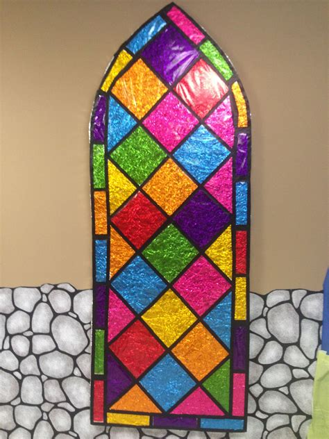 close  photo  faux stained glass windows grace point