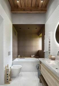 salle de bain deco scandinave en blanc et bois With salle de bain design avec décoration cerf en bois