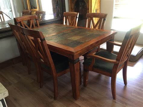 Slate Dining Room Table  Letgo Slate Wood Dining Room