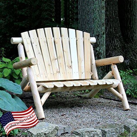 lakeland mills 4 ft white cedar log loveseat bench
