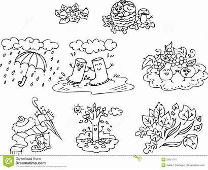 Autumn Coloring Children Elements Illustration Fall Mr