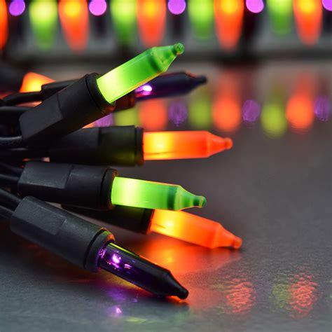 orange green purple string lights 50 lights - Halloween String Lights