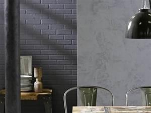 Peindre Des Briques De Cheminée : peinture effet sabl gris et mur de briques peint en gris anthracite pour la d co d 39 une ~ Farleysfitness.com Idées de Décoration