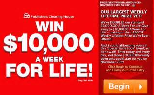 10000 a Week for Life Sweepstakes PCH