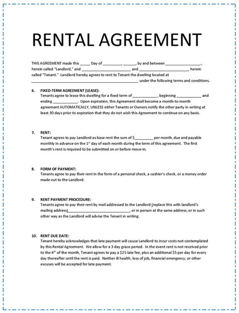 Rental Agreement Template Rental Agreement Format Bravebtr