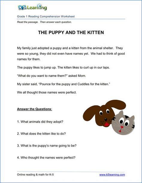 Free Printable First Grade Reading Comprehension Worksheets  K5 Learning  1st Grade