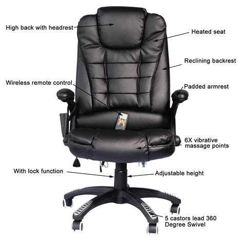 homcom executive heated office chair black