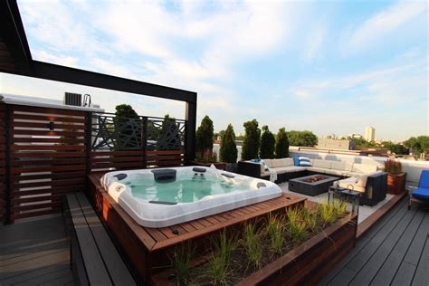 ukrainian village house roof deck hot tub  chicago