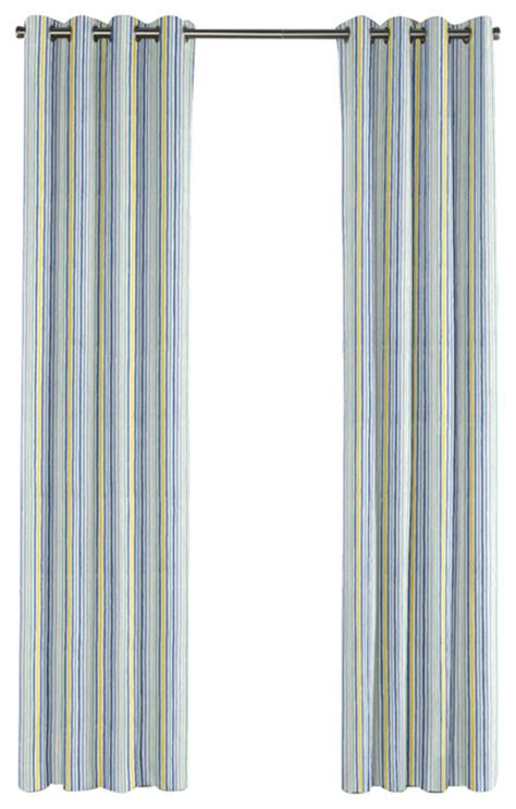 modern yellow and blue stripe grommet curtain
