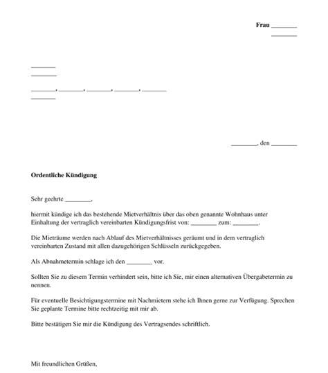 wohnung kündigen vermieter kundigung mietvertrag vorlage zum ausdrucken papac info