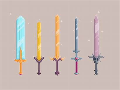 Magic Swords Dribbble Sword Pixel Minecraft Animation