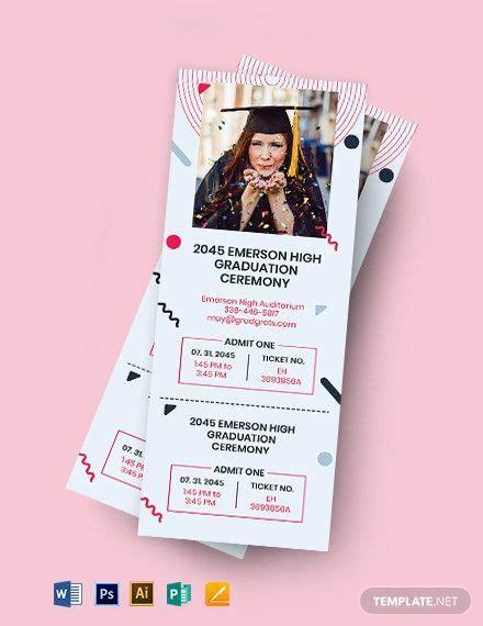 Graduation Event Ticket Template Word PSD Apple