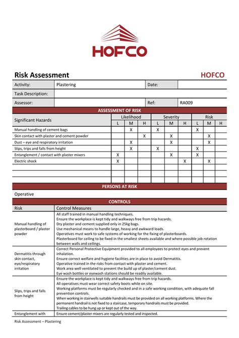 hofco risk assessment