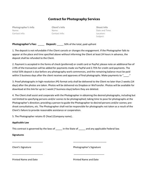 Photography Contract Template Photography Contract Template In Word And Pdf Formats