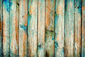 Rustic, Wooden, Fence, Purification, Of, Blue, Paint, Stock, Photo