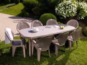 Fauteuil De Jardin Grosfillex Miami by Salon De Jardin Table 220x100cm Avec 8 Fauteuils En R 233 Sine