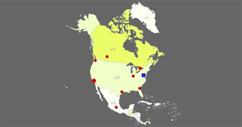 interactive map  north america clickable countriescities